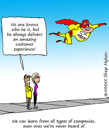 A Customer Experience Superhero Wearing a Mask Flies by Citizens